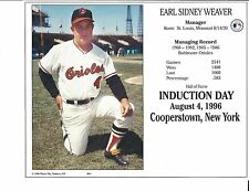 "Earl Weaver - Manager Baltimore Orioles - Hall of Fame Supercard 8"" x 10"""