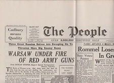 WW2 Wartime Newspaper The People July 30 1944 Warsaw Red Army Guns 70th birthday