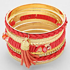 Gold and Coral Faux Leather Tassel Crystal and Beaded Bangle Set