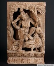 India 20. JH. madera relief-carved wood panel Subramanya South India inde du Sud