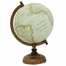 "13"" Decorative Big Rotating Globe World Table Decor Earth White Ocean Geography"