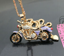 568Z  Betsey Johnson Crystal Enamel Motorcycle Pendant Sweater Chain Necklace
