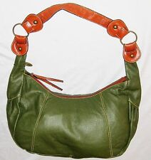 "Chinese Laundry Green Brown 12X20"" Leather Zippered Shoulder Bag Purse"
