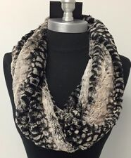 New Soft faux fur one circle loop cowl thick infinity scarf snood Black/Beige