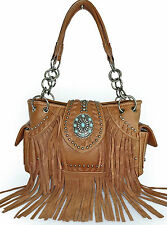 Montana West® Leather Fringe, Studded Western Bag w/ Turquoise Accent- Brown