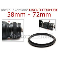 Anello MACRO COUPLER adattatore INVERSIONE 58mm - 72mm 58 72 Canon Nikon Sony