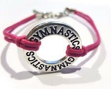 Gymnastics Hot Pink Wax Cord Bracelet -Gymnastics charm