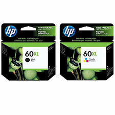 2-Pk GENUINE HP 60XL Black+Color CC641WN CC644WN Brand New OEM