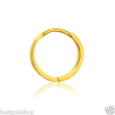 13mm Mens Single Huggie Hoop Earring with Secure Snap Bar Real 10K Yellow Gold