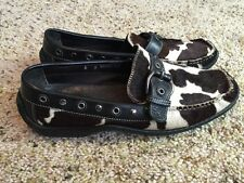 Donald J Pliner Womens 6M Suede Leather Cow print Loafers Brown White  Deney Kd1