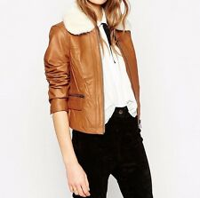 Branded Leather Biker Jacket with Faux Fur Collar UK 12/EU 40/US 8