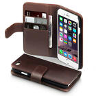 Brown Real Authentic Genuine Leather Wallet Case Holder for Apple iPhone 6/6S