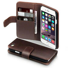 Brown Real Genuine Authentic Leather Wallet Case Holder for Apple iPhone 6/6S