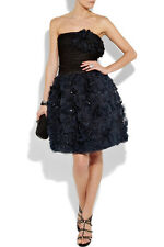 Oscar de la Renta NWT $5K '11 Black Blue Organza 3-D Detail Dress Gown US 10 Med