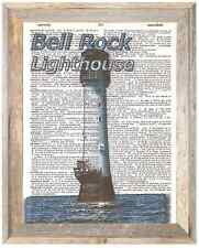 Bell Rock Lighthouse Scotland Altered Art Print Upcycled Vintage Dictionary Page