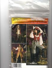 SIMPLICITY PATTERN 0791 WOMEN'S PIRATE COSTUMES SIZE HH (6-12)