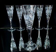 6 Art Deco, Jugendstil, Kristall, Sektgläser mit Schliff, Antik, Kristall weiß