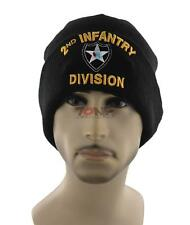 NEW! US ARMY 2ND INFANTRY DIVISION BEANIE CAP HAT BLACK