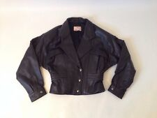 Womens SOFT LEATHER Black Cropped Motorcycle Jacket Small Snaps 80s/90s Style!