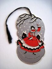 Vintage Art Deco Bridge Tally w/ A Woman On Ice Skates w/ Silver & Red Colors *