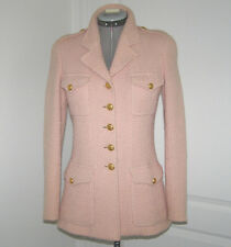 "CHANEL RUNWAY WORN, U.S.BOUTIQUE-""MILITARY COLLECTION""- PINK BOUCLE TWEED JACKET"
