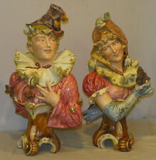 Exceptional Companion Pair of Majolica Antique Figural Busts Drama Theme