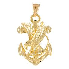 Pure Gold Anchor Eagle Diamond Cut Pendant