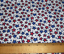 1 yard of RED and BLUE STARS PRINT on WHITE 100% Cotton Fabric CRANSTON