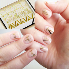 1pc Fashion Manicure Nail Art Stickers Gold V Heartbeat Shape Tips Decals Decor