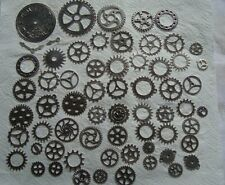 100 GRAMS OF STEAMPUNK COGS AND GEARS  IN SILVER  METAL ALLOY FROM 40mm to 8mm