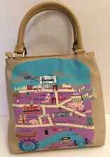 Harrods Nylon London Map Landmark  Handbag Purse Bag Tan Medium Tourist