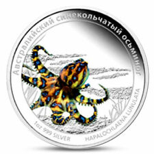 2011 Tuvalu Deadly and Dangerous BLUE RINGED OCTOPUS Silver Proof *Rus release