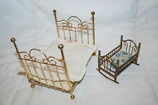 VINTAGE DOLLHOUSE MINIATURE BRASS BED WITH MATTRESS & ROCKING CRIB WITH MATTRESS