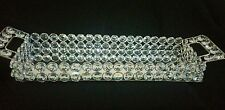 Rectangular Crystal Silver Clear Jewelled Mirrored candle holder, Tray