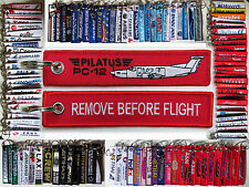 Pilatus PC-12 Aircraft tag keychain REMOVE BEFORE FLIGHT