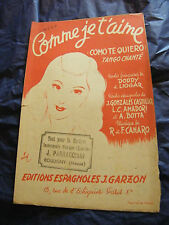 Partition Comme je t'aime Canaro Music Sheet