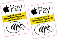 2 x Apple Pay and Contactless Payments Accepted Sticker LARGE Taxi Shop Business
