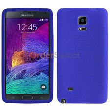 Silicone Soft Slim Rubber Gel Case Cover Skin for Samsung Galaxy Note 4 Blue