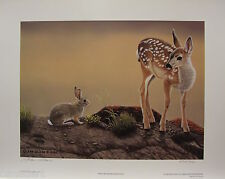 "Glenn OLSON ""MILK RIVER RENDEZVOUS "" LTD art print mint COA Bunny Deer Rabbit"
