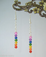 Pretty Dangly Multi-Coloured Rainbow Chakra Drop Earrings - Reiki Healing