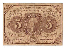 Act of July 17th 1862 U.S. Five Cents Postage Currency. Nice Avg. Circ. Neat!