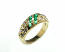 18kt Yellow Gold Ring with 8 Square Colombian Emeralds and 22 CZ Fine Quality!