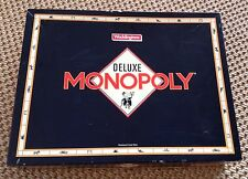 MONOPOLY DELUXE EDITION WADDINGTONS - 1990, VINTAGE, BOARD GAME, WOODEN PIECES