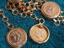 Vtg 50s Queen Elizabeth II Cypress Flying Fish Bronze Coin Chain Belt gold Metal
