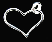 .925 Sterling Silver Heart Pendant Charm For Necklace or Bracelet