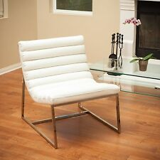 Modern White Cushioned Leather Steel Lounge Accent Chair
