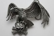 Men Women Belt Buckle Dark Silver Metal Western American Eagle Skeleton Skull