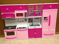 Barbie Doll Pink Light Up Kitchen Stove Oven Microwave Refrigerator Furniture