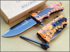 ELK RIDGE 5 INCH CLOSED ORANGE CAMO SPRING ASSISTED KNIFE WITH FIRE STARTER 440