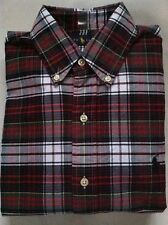 NWT Mens Polo Ralph Lauren Black/White/Red Plaid Oxford Long Sleeve Shirt Small